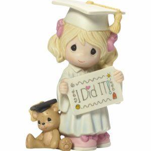 Graduation Girl With Teddy Bear Bisque Home Decor Figurine