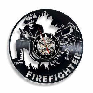 Firefighter Vinyl Wall Clock