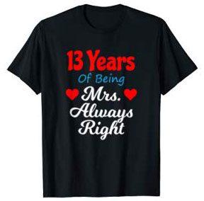13th Wedding Anniversary Shirt Gift
