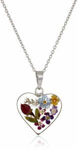 Flower Heart Pendant Necklace