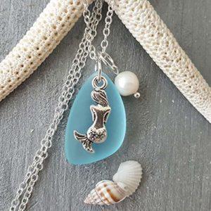 Mermaid Charm Glass Necklace