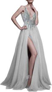 Deep V Neck Sequins Prom Dress
