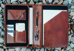 Mens Personalized Leather Portfolio Graduation Gift