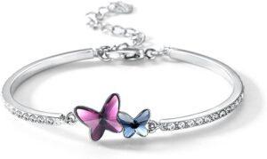 Butterfly Crystal Bangle Bracelet